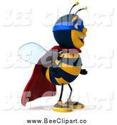 Clip Art of a 3d Super Hero Honey Bee Facing Right by Julos