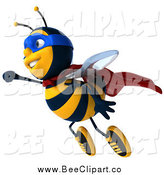 Clip Art of a 3d Super Hero Honey Bee Flying by Julos