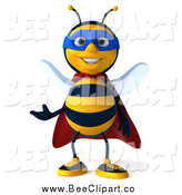 Clip Art of a 3d Super Hero Honey Bee Presenting by Julos