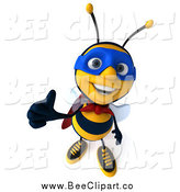 Clip Art of a 3d Super Honey Bee Giving a Thumb up by Julos