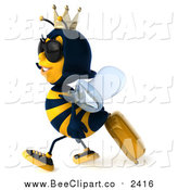 Clip Art of a 3d Traveling Queen Bee Wearing Sunglasses and Walking with Rolling Luggage by Julos