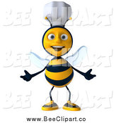 Clip Art of a 3d Welcoming Chef Bee with Open Arms by Julos