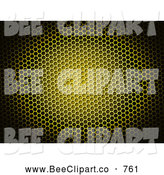 Clip Art of a 3d Yellow Bee Honeycomb Grid Background by Oboy
