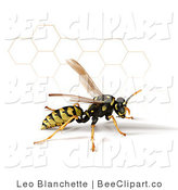 Clip Art of a 3d Yellow Jacket Wasp with a Honeycomb by Leo Blanchette