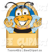 Clip Art of a Bee and Blank Label by Toons4Biz