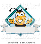 Clip Art of a Bee on a Blank White Label by Toons4Biz