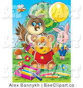 Clip Art of a Bee Owl Pig and Bear Coloring Together by Alex Bannykh