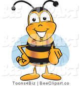Clip Art of a Bee Pointing out by Toons4Biz