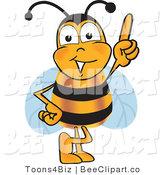 Clip Art of a Bee Pointing Upwards by Toons4Biz