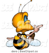Clip Art of a Bee Sitting and Pointing by Dero