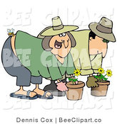 Clip Art of a Bee Stinging a Womans Butt While She Gardens with Her Hubby by Djart