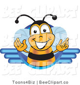 Clip Art of a Bee Welcoming with Blue Lines by Toons4Biz