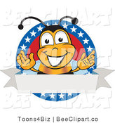 Clip Art of a Bee with Stars on a Blank Label by Toons4Biz