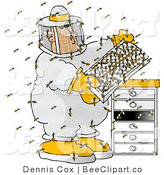 Clip Art of a Beekeeper in a Honeybee Apiary by Djart