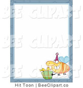 Clip Art of a Birthday Bee and Gift Border by Hit Toon