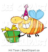 Clip Art of a Birthday Party Bee and Gift by Hit Toon