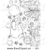Clip Art of a Black and White Bear and Bees Coloring Page Outline Design by Alex Bannykh