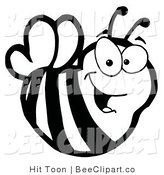 Clip Art of a Black and White Bee by Hit Toon