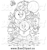Clip Art of a Black and White Bee, Ppig, Owl and Bear Coloring by Alex Bannykh