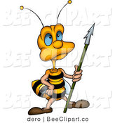 Clip Art of a Blue Eyed Guardian Bee Holding a Spear in Hand by Dero