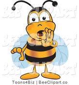 Clip Art of a Bumble Bee Cupping His Mouth by Toons4Biz