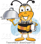 Clip Art of a Bumble Bee Dressed As a Servant, Carrying a Food Platter by Toons4Biz