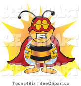 Clip Art of a Bumble Bee Dressed As a Super Hero by Toons4Biz