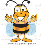 Clip Art of a Bumble Bee Greeting with Open Arms by Toons4Biz