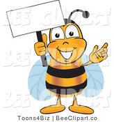 Clip Art of a Bumble Bee Holding a Blank White Sign by Toons4Biz