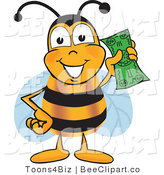 Clip Art of a Bumble Bee Holding a Dollar Bill by Toons4Biz
