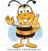 Clip Art of a Bumble Bee Holding a Pencil by Toons4Biz