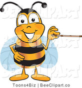 Clip Art of a Bumble Bee Holding a Pointer Stick by Toons4Biz