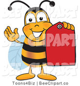 Clip Art of a Bumble Bee Holding a Red Clearance Sales Tag by Toons4Biz