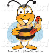Clip Art of a Bumble Bee Holding and Pointing to a Telephone by Toons4Biz