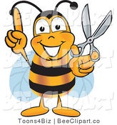 Clip Art of a Bumble Bee Holding Scissors by Toons4Biz