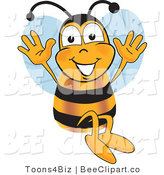 Clip Art of a Bumble Bee Jumping with His Arms up by Toons4Biz