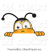 Clip Art of a Bumble Bee Peeking over a Horizontal Surface by Toons4Biz