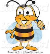 Clip Art of a Bumble Bee Peeking Through a Magnifying Glass by Toons4Biz