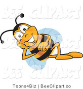 Clip Art of a Bumble Bee Resting His Face on His Hand by Toons4Biz