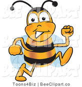 Clip Art of a Bumble Bee Running by Toons4Biz