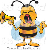 Clip Art of a Bumble Bee Screaming into a Megaphone by Toons4Biz