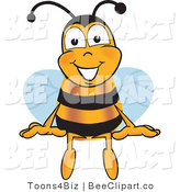 Clip Art of a Bumble Bee Sitting by Toons4Biz