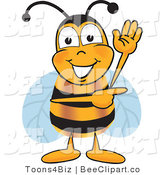 Clip Art of a Bumble Bee Waving and Pointing to the Right by Toons4Biz