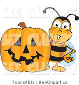 Clip Art of a Bumble Bee with a Carved Halloween Pumpkin by Toons4Biz