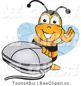 Clip Art of a Bumble Bee with a Computer Mouse by Toons4Biz