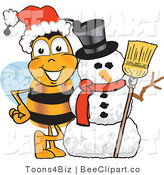 Clip Art of a Bumble Bee with a Snowman on Christmas by Toons4Biz
