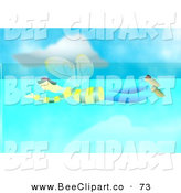 Clip Art of a Busy Bee Man Flying in the Aqua Sky by Prawny