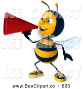 Clip Art of a Cheerful 3d Bee Character Announcing by Julos