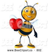 Clip Art of a Cheerful 3d Bee Character Holding a Heart by Julos