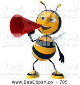 Clip Art of a Cheerful 3d Bee Character Making an Announcement by Julos